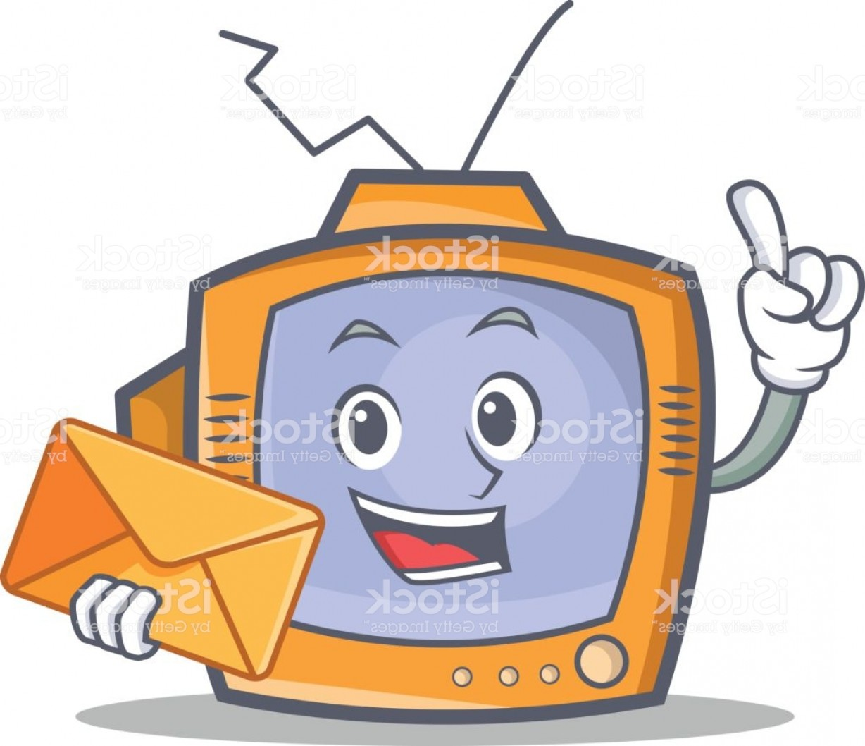 Art Envelopevector: Tv Character Cartoon Object With Envelope Vector Illustration Gm