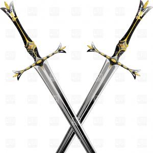 Pirate Swords Crossed Vectors: Two Crossed Antique Swords With Ornate Hilts Vector Clipart