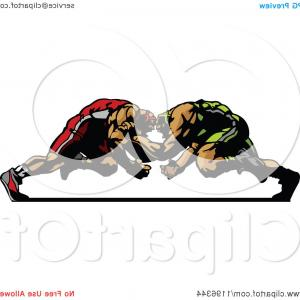 Vector Image Of Strong Wrestler: Two Strong Male Wrestlers In A Match
