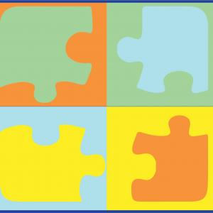 Jigsaw Puzzle Vector PDF: Two Women Two Puzzle Pieces Silhouette