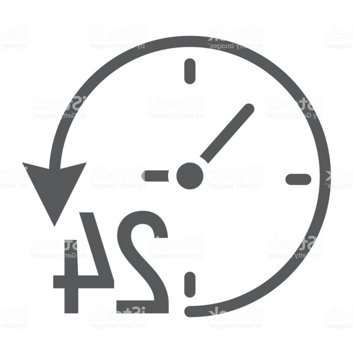 320 Vector: Twenty Four Hour Glyph Icon E Commerce And Marketing Clock Sign Vector Graphics A Gm