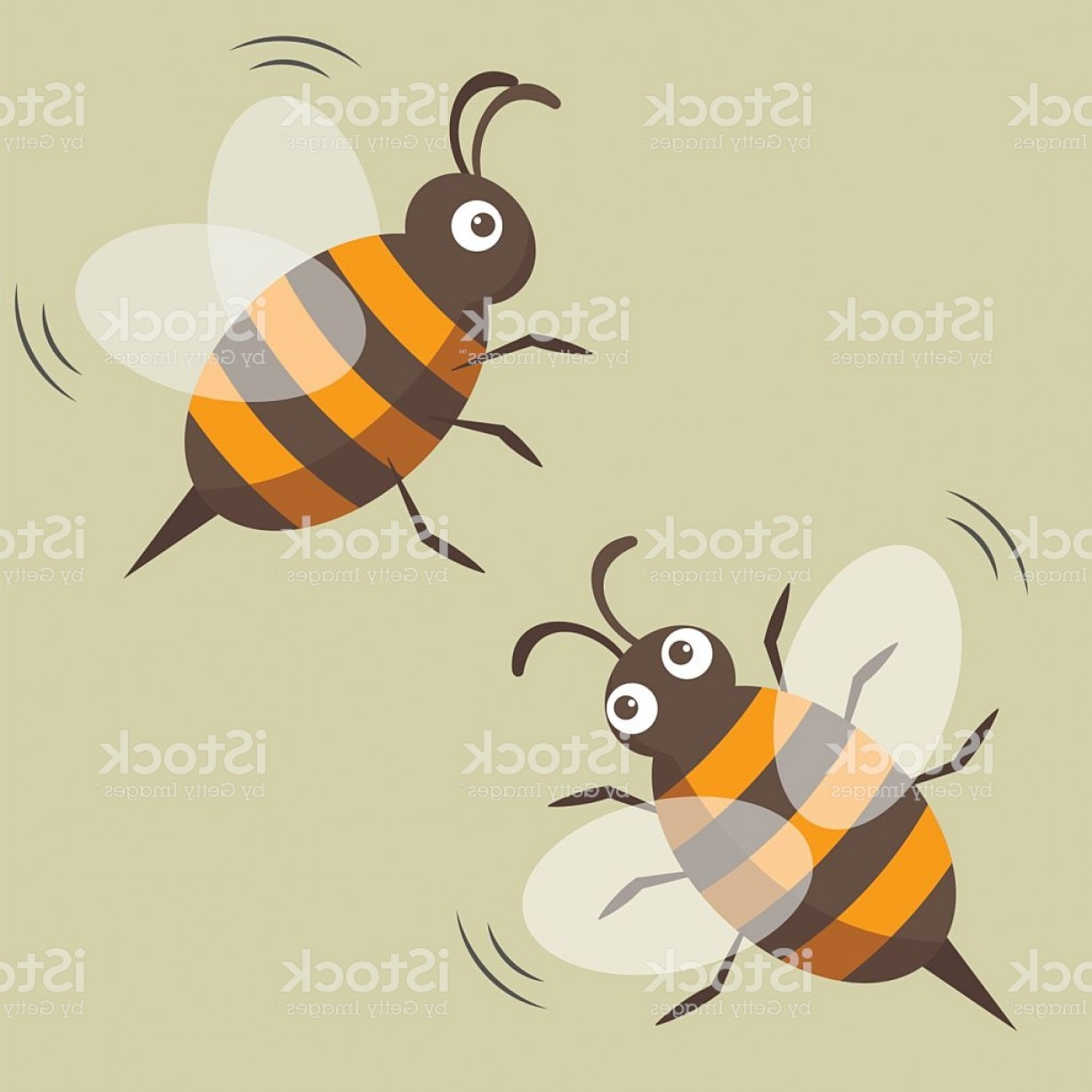 Bee Stinger Back Vector Art: Two Bees Isolated Vector Picture Cartoon Style Gm
