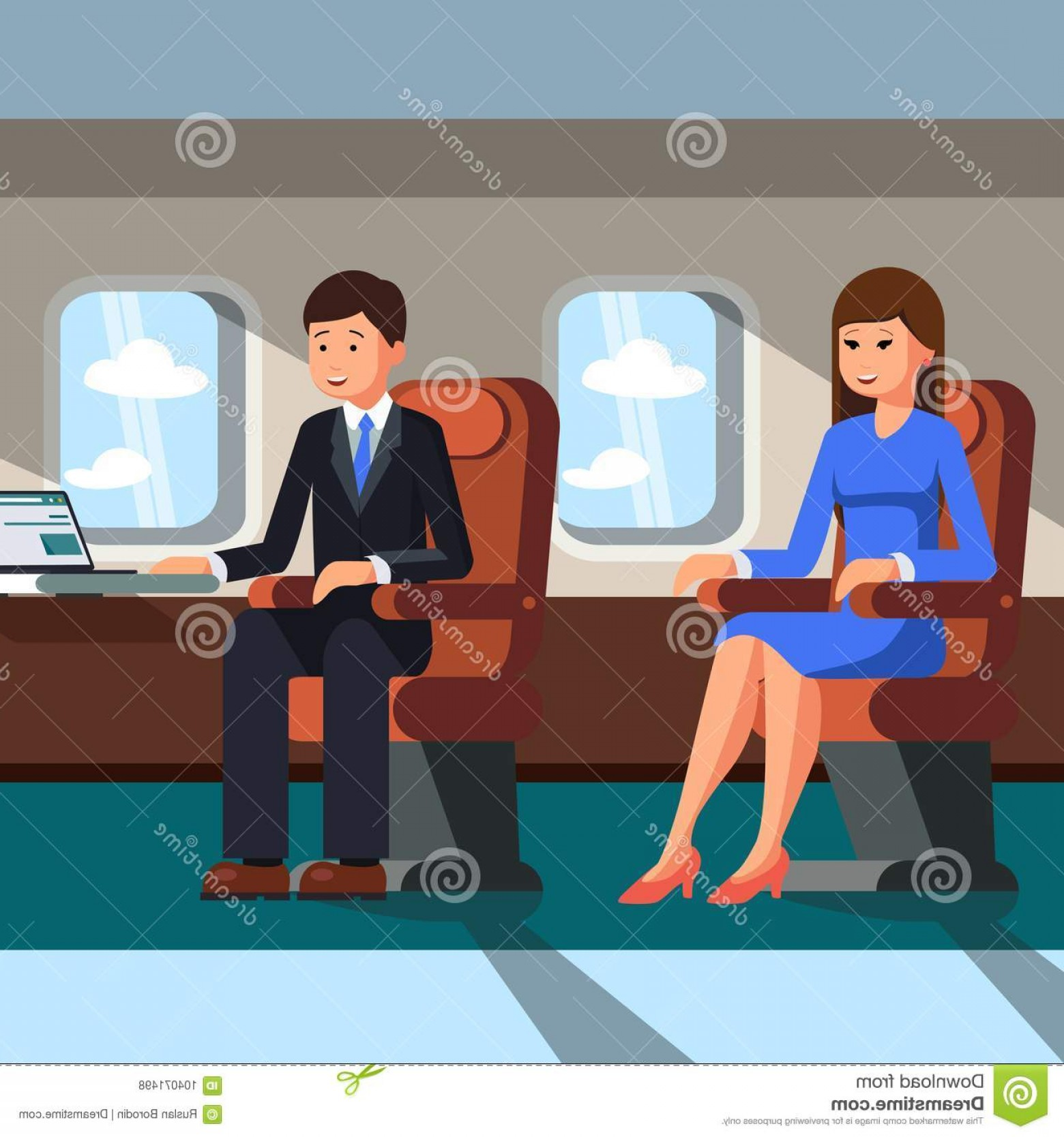 Vector Man Working In Cabin: Two Businessmen Man Woman Sitting Cabin Plane Near Porthole Concept Business Flights Vector Image