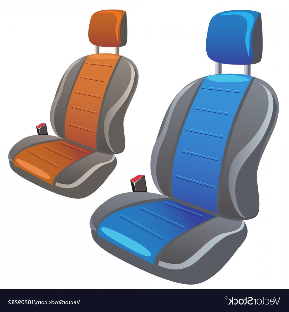 Vector Baby Seat: Two Car Sport Seats In Different Colors Vector