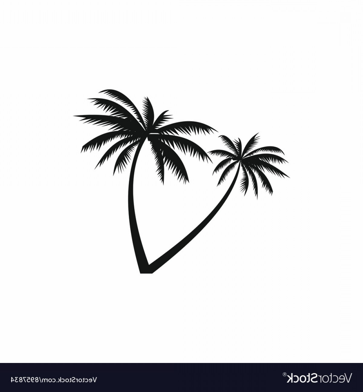Simple Palm Tree Vector: Two Coconut Palm Trees Icon Simple Style Vector