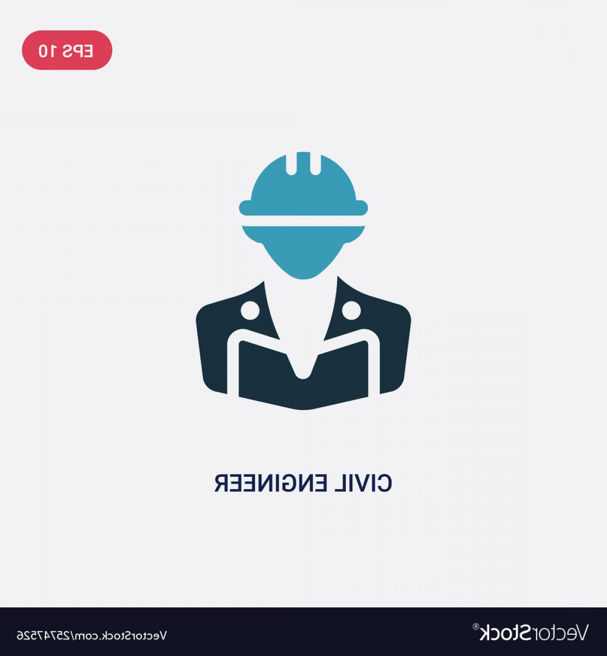 Vector Graphic Of Civil Engineering: Two Color Civil Engineer Icon From Professions Vector