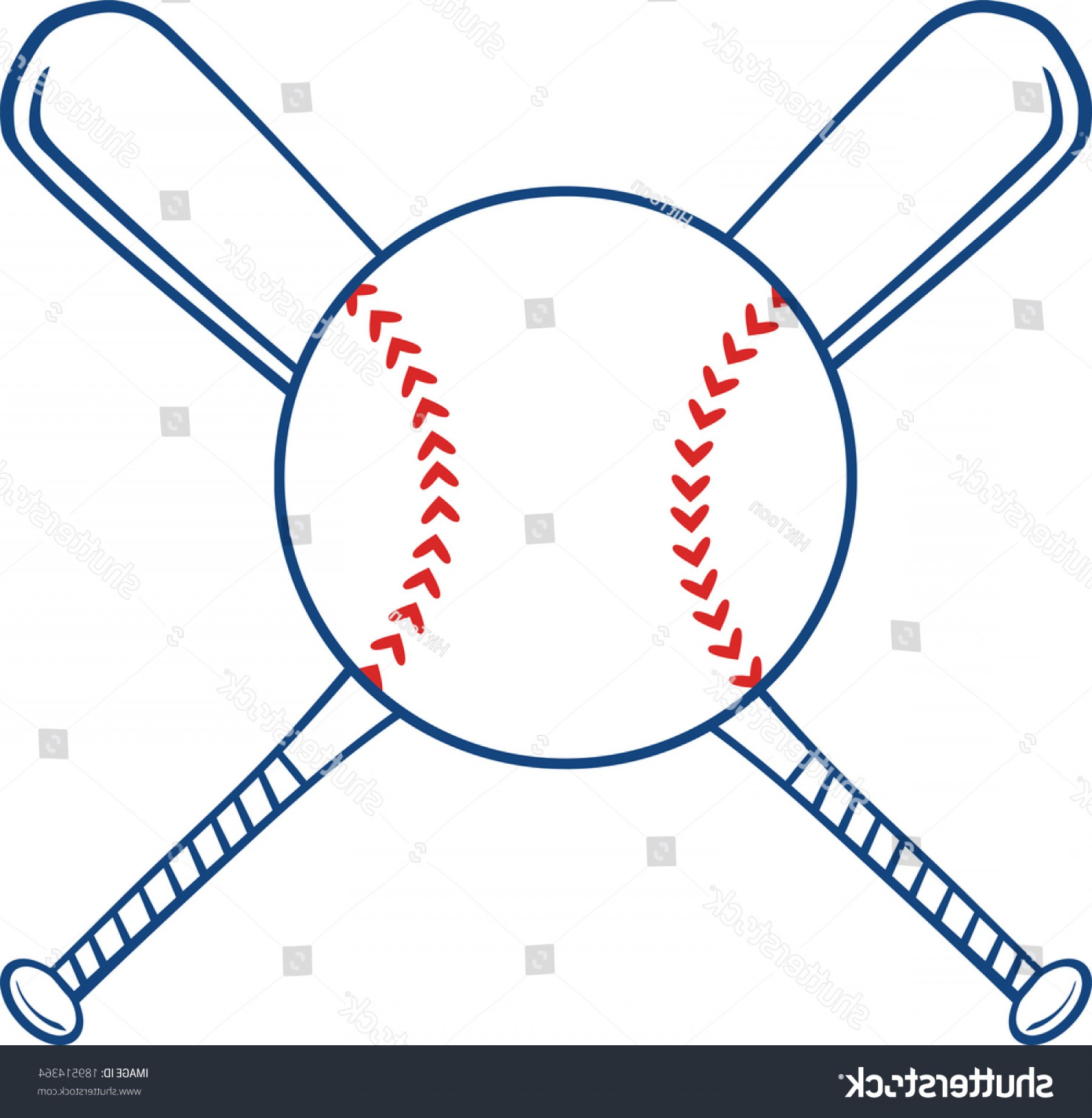Vector Baseball Cross: Two Crossed Baseball Bats Ball Vector