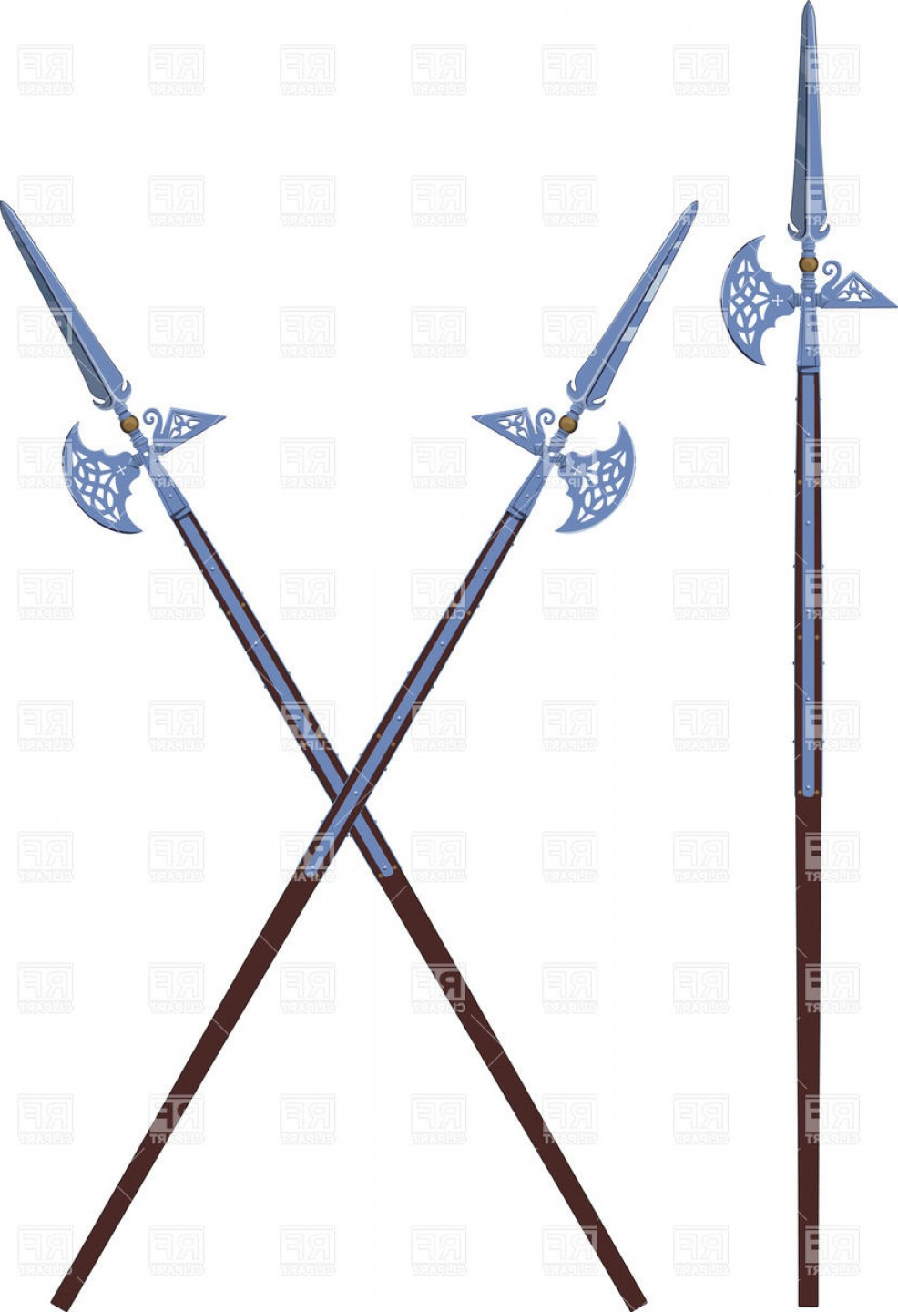 Pike Spear Vector: Two Crossed Decorated Halberds Vector Clipart