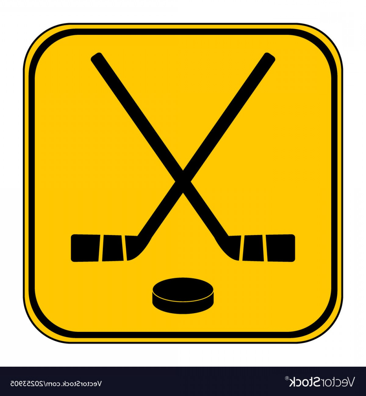 When Two Vectors Are Parallel: Two Crossed Hockey Sticks And Puck Icon Vector