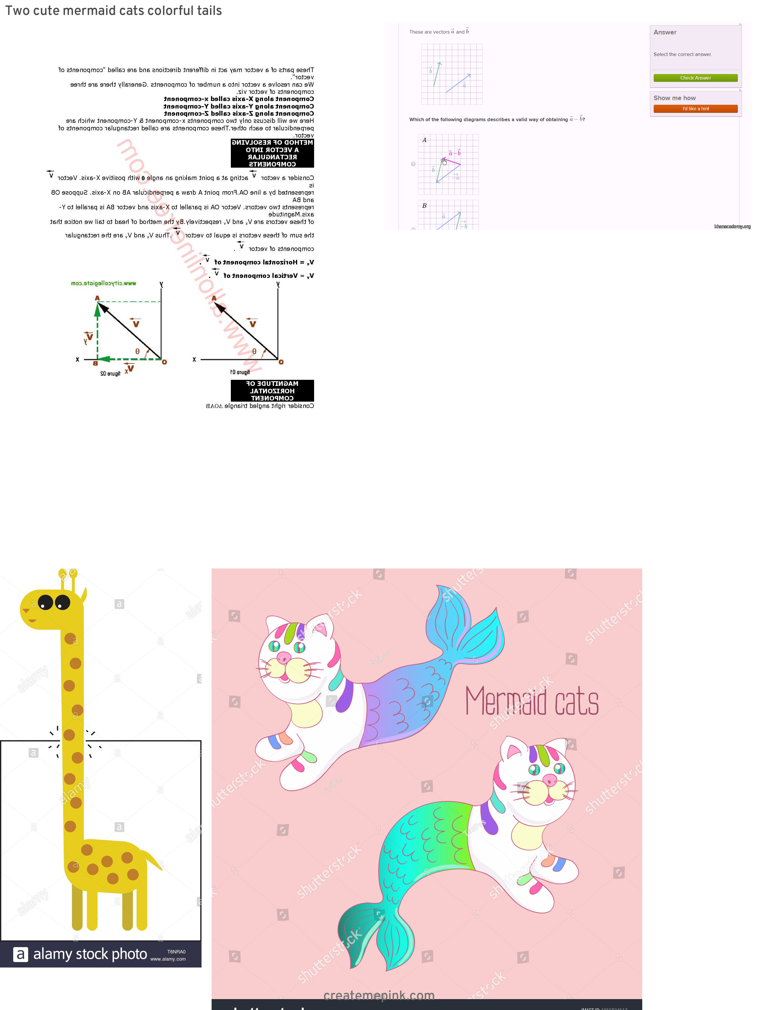 Two Vectors Tail To Tail: Two Cute Mermaid Cats Colorful Tails