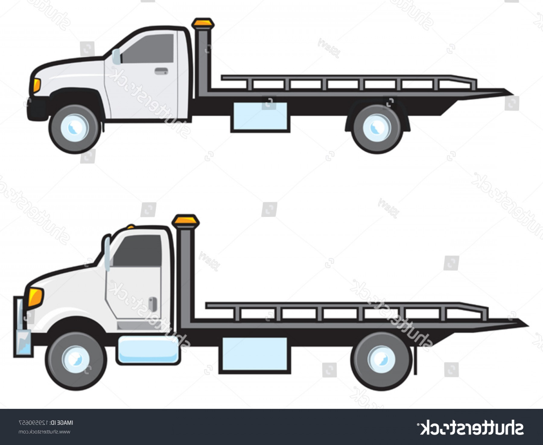 Gruas Truck Vector: Two Different Types Common American Flatbed