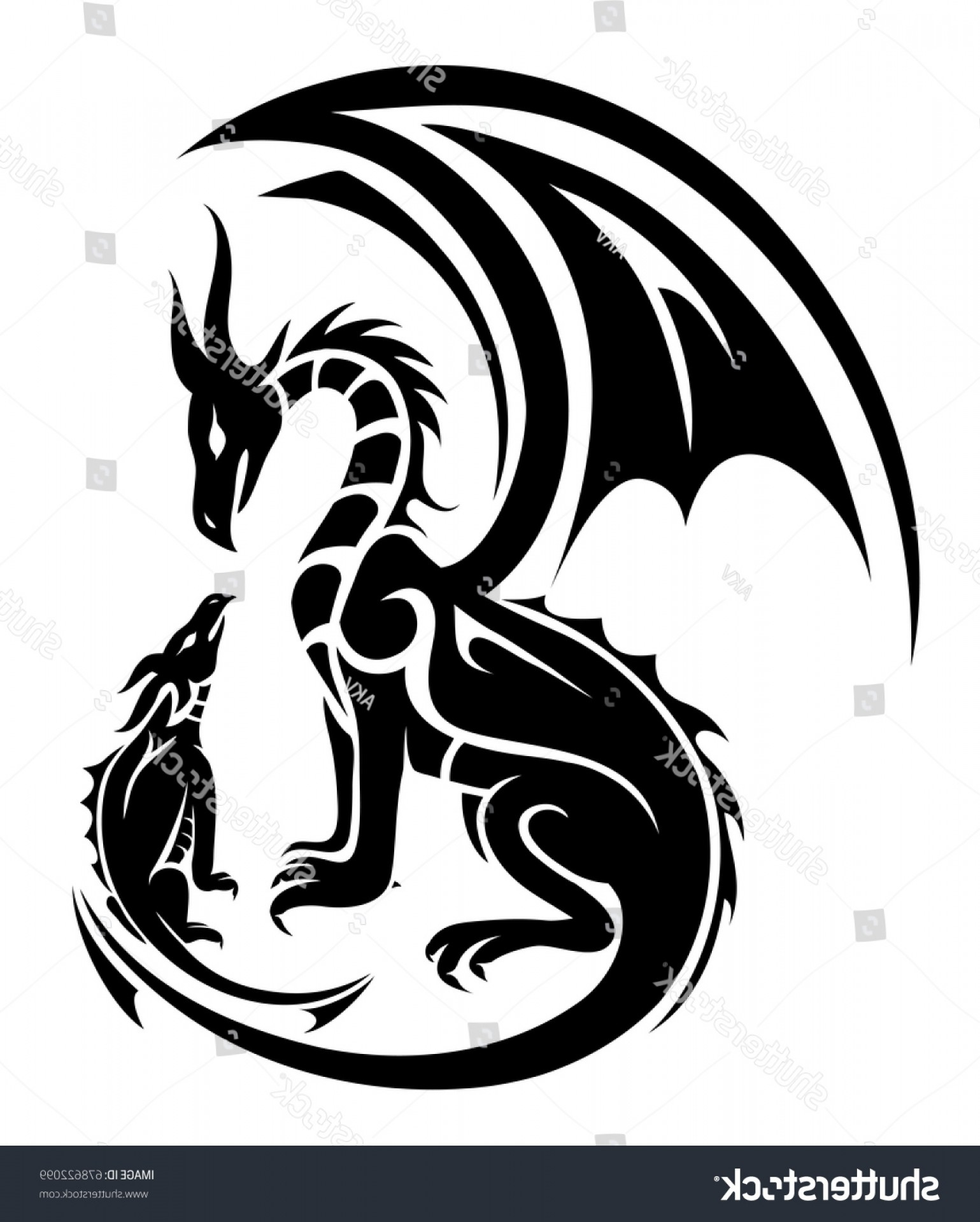 Baby Dragon Silhouette Vector: Two Dragons Tattoo Mother Child Concept