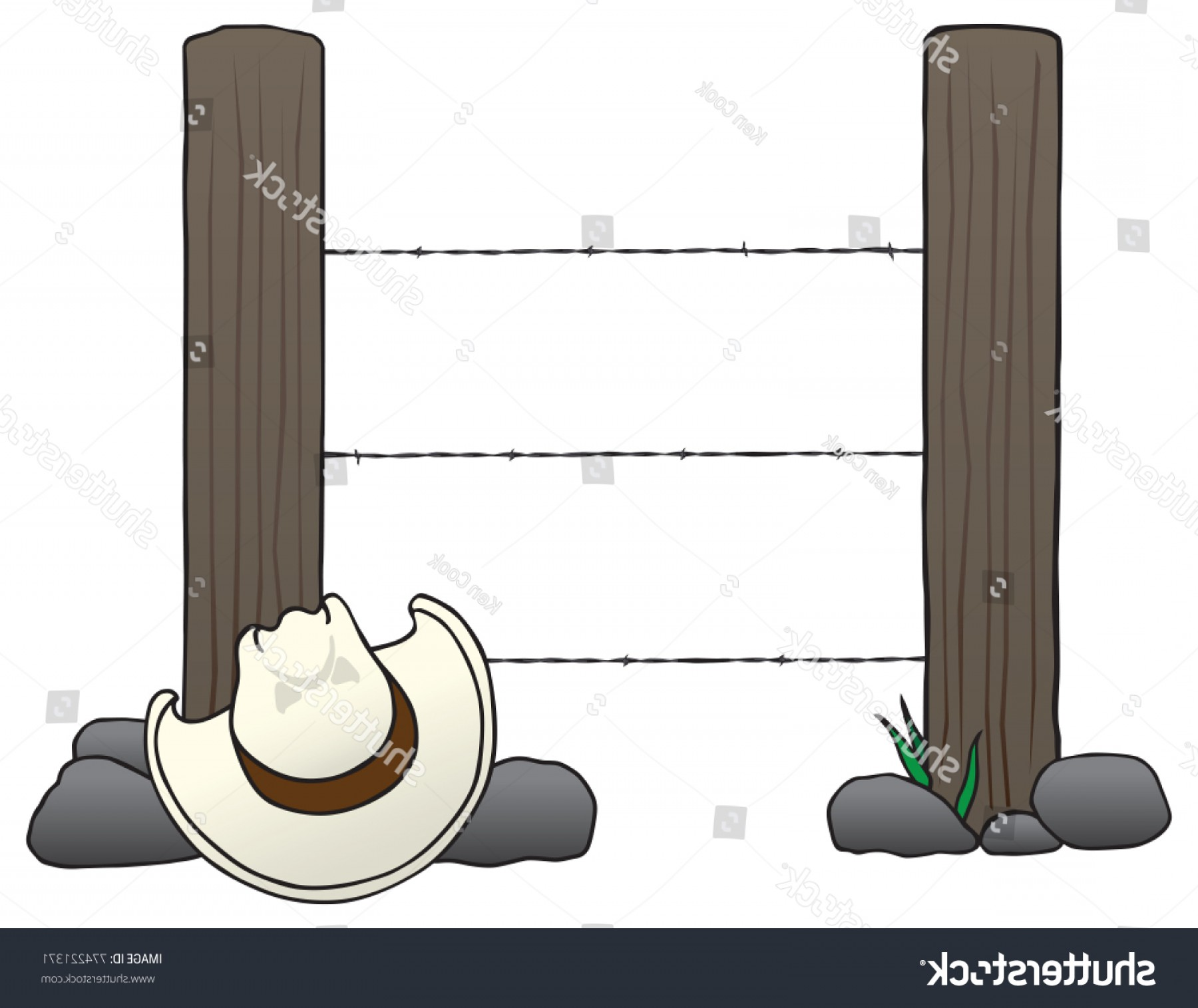 Fence Post Barbed Wire Vector Clip Art: Two Fence Posts Barbed Wire Running