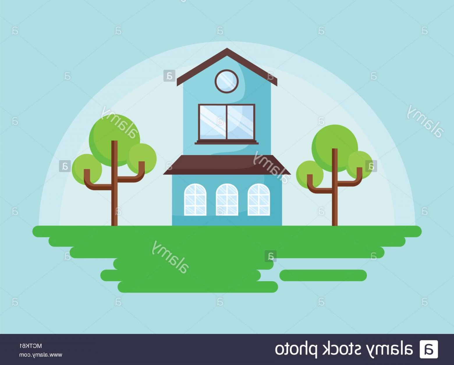 Vector Modern Tree House: Two Floor Modern House With Trees Over Blue Background Colorful Design Vector Illustration Image