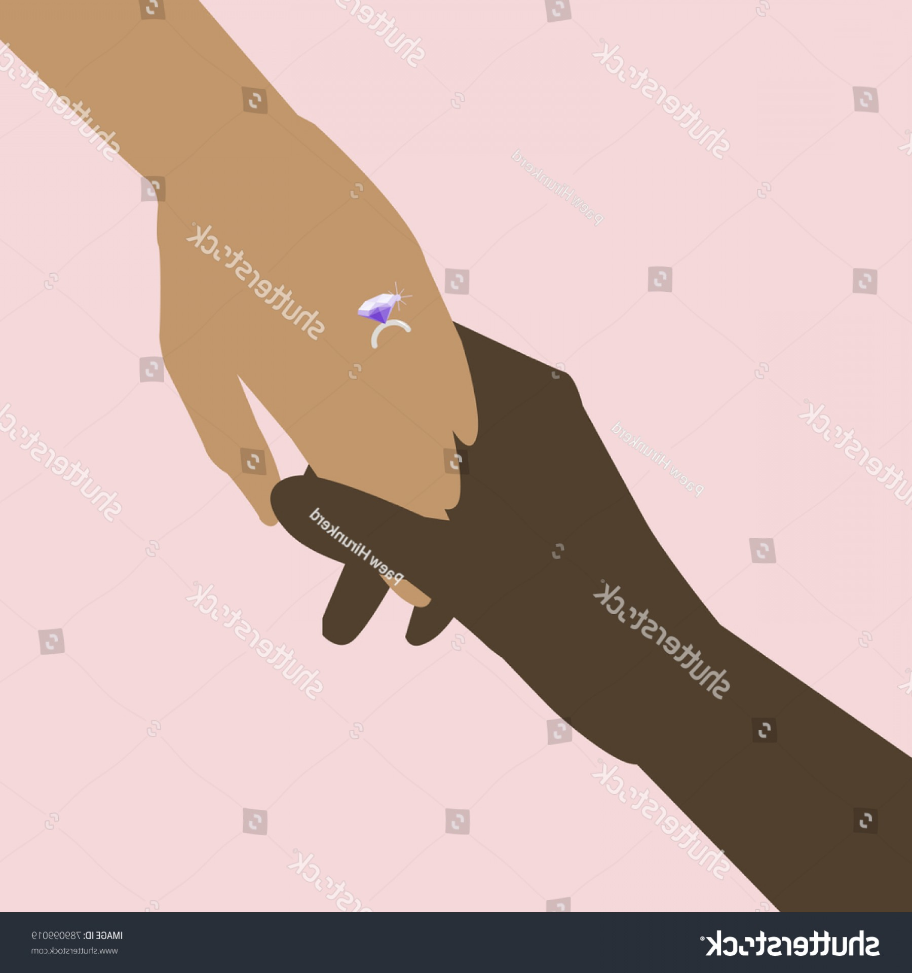 Hand With Ring Silhouette Vector: Two Hands Wearing Diamond Ring Silhouette