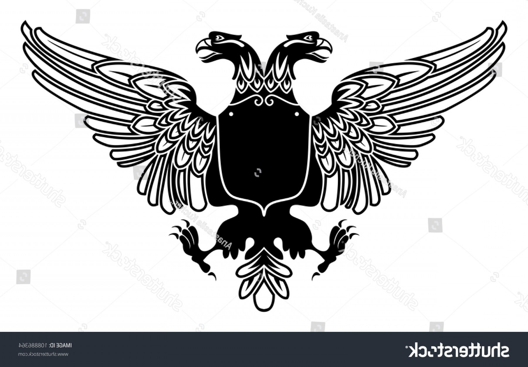 Eagle Banner Vector: Two Headed Eagle Coat Arms Empty