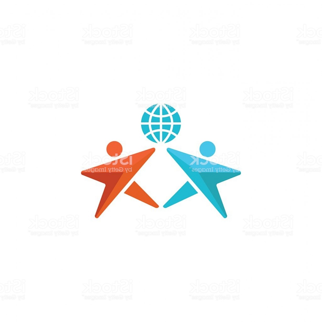 Friendship Symbol Vector: Two Man Logo Globe People Hands Up Together Friendship Symbol Gm