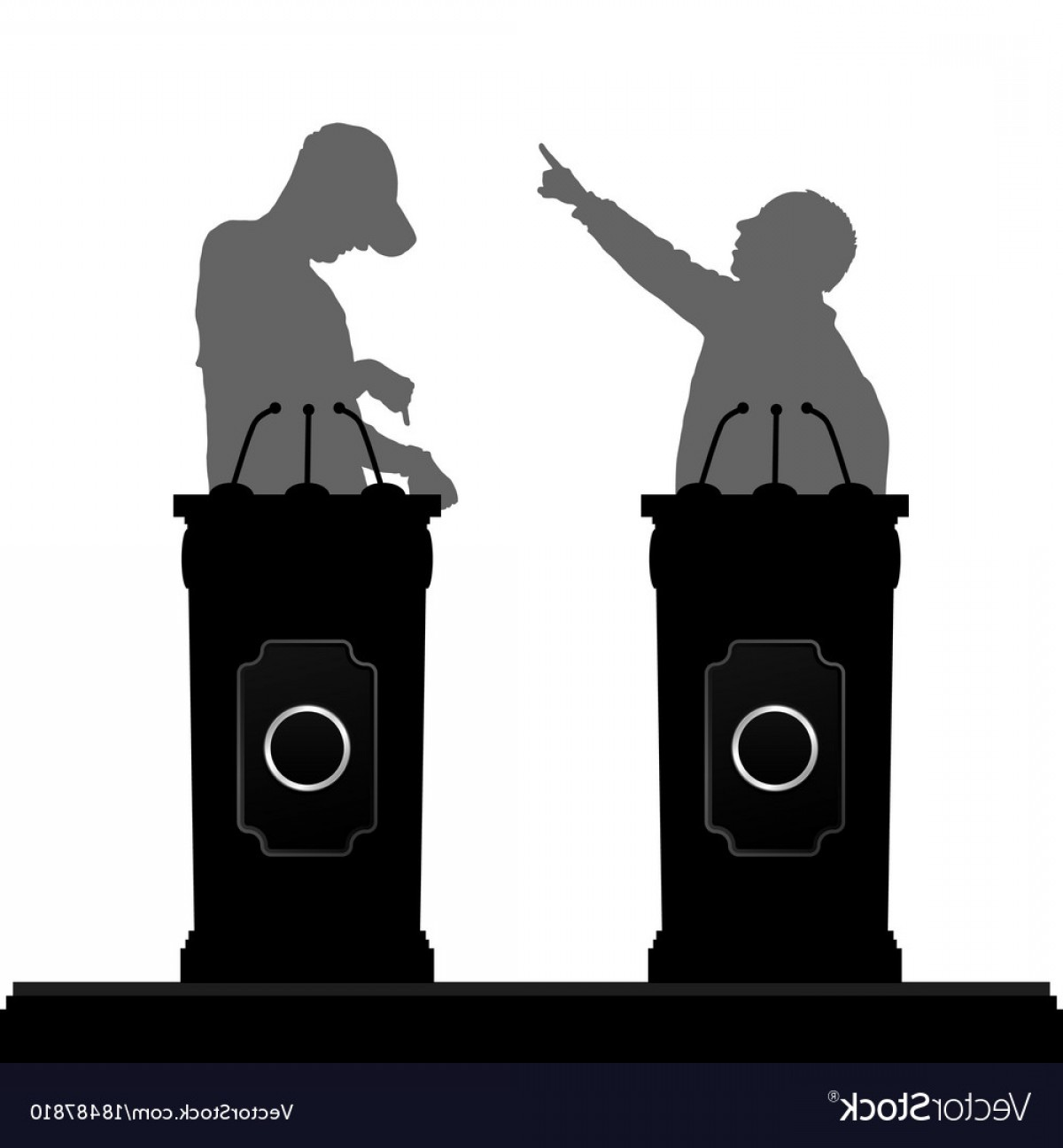 Male Silhouette Vector Art: Two Man Silhouette Debate On Platform Vector