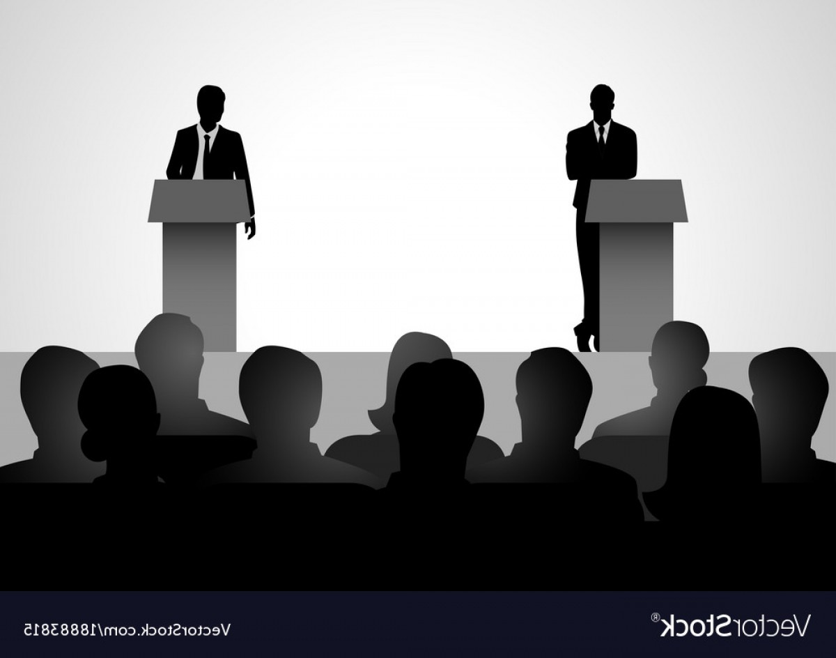 Vector Wrestling Audience: Two Men Figure Debating On Podium Vector