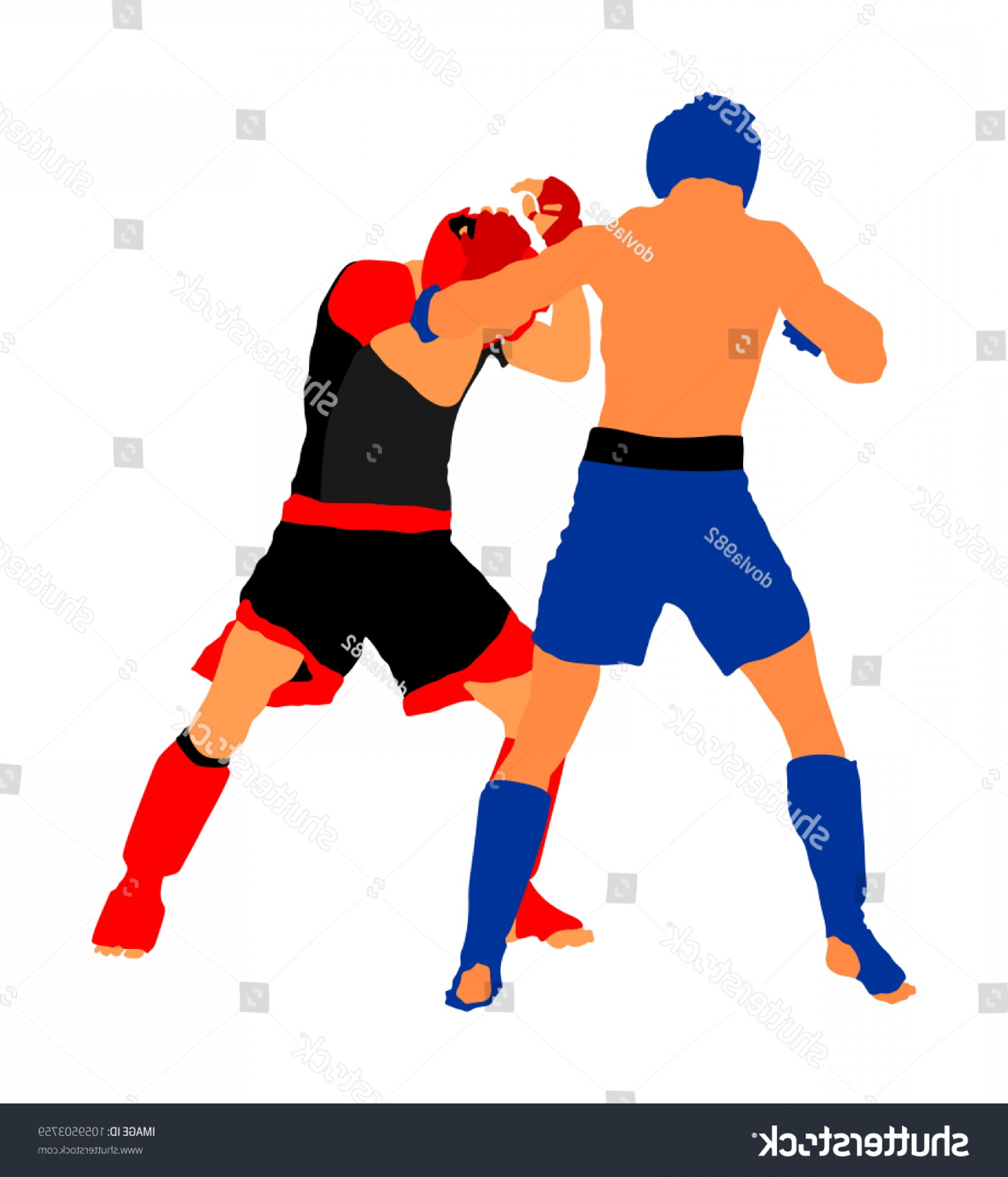 UFC Kick Vector: Two Mma Fighters Vector Illustration Isolated