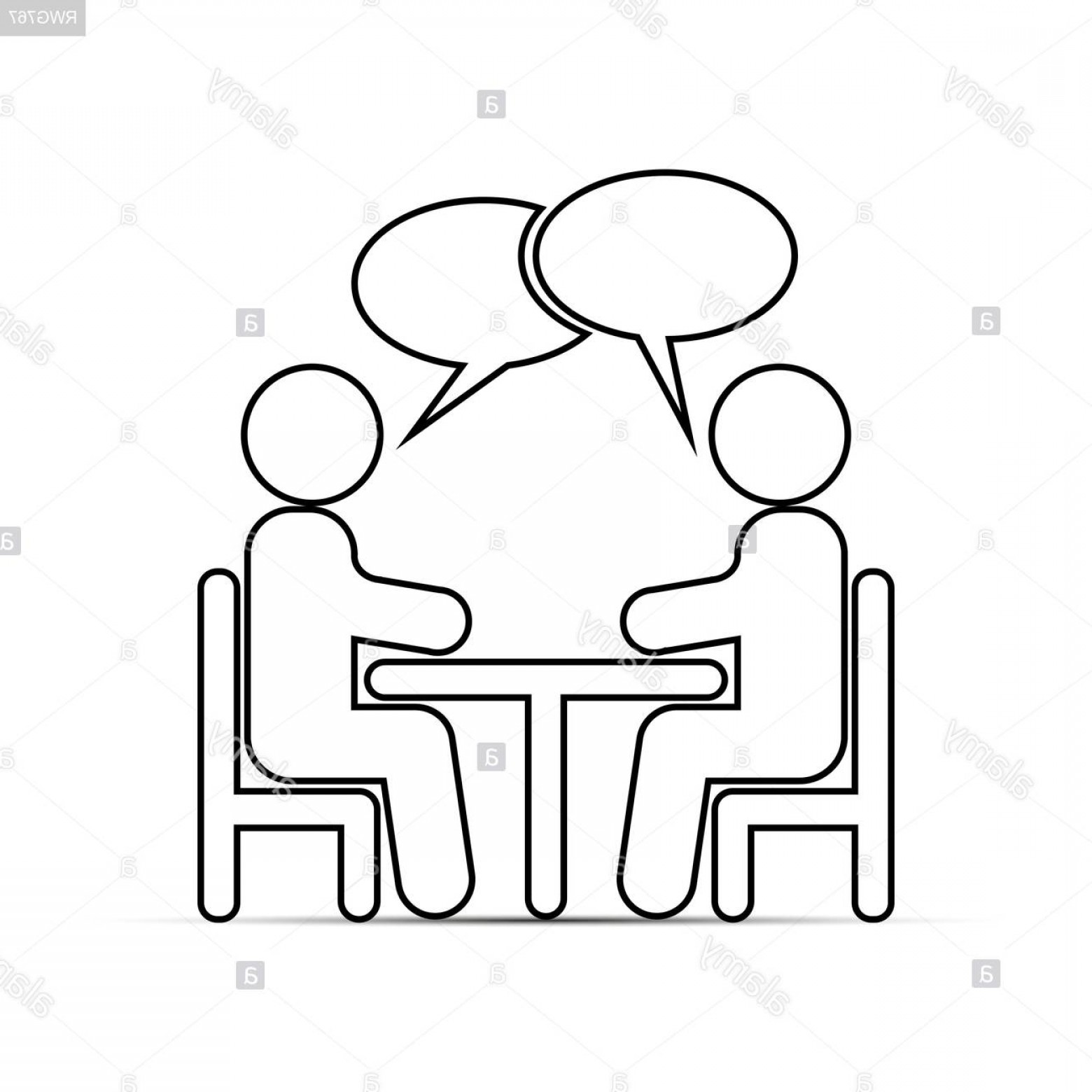 Two People Talking Vector Art: Two People Sitting At A Table And Talking Outline Drawing Image