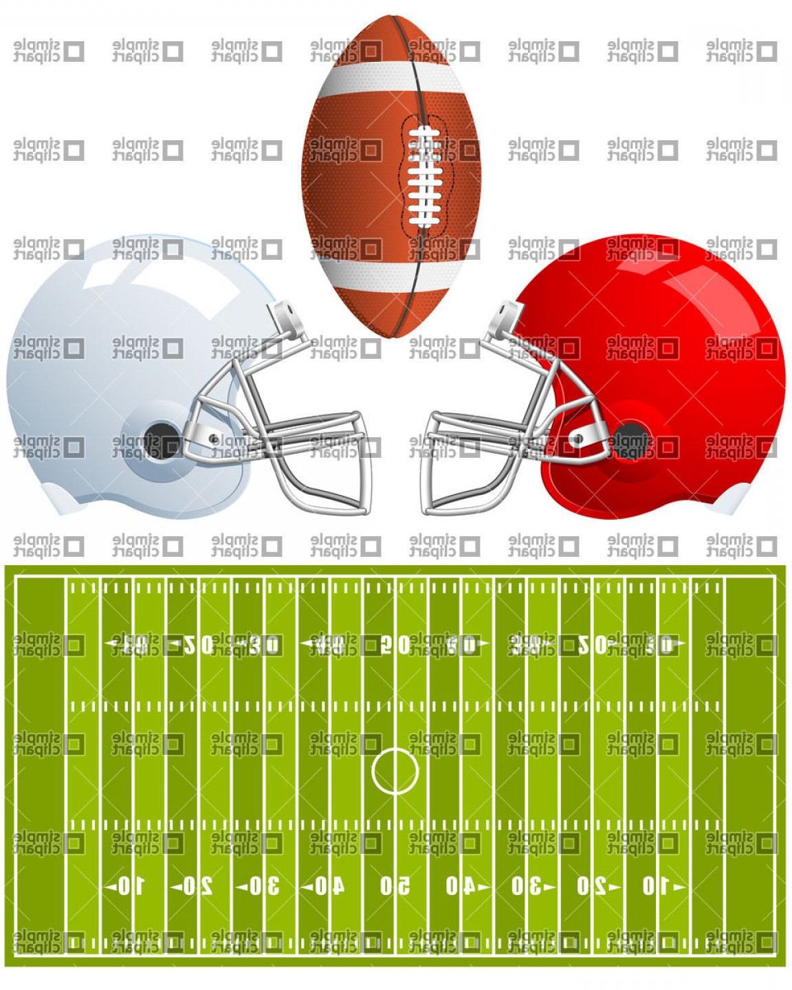 Free Football Vector Clip Art: Two Sport Helmets And Field For American Football Vector Clipart
