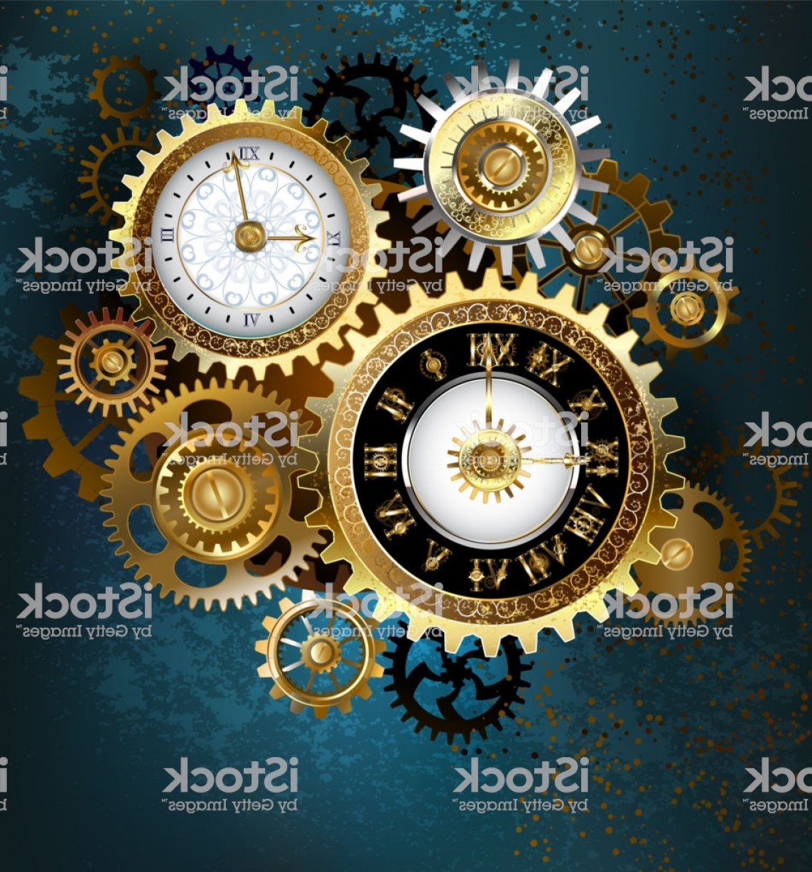 Watch Gears Vector: Two Steampunk Clocks With Gears Gm