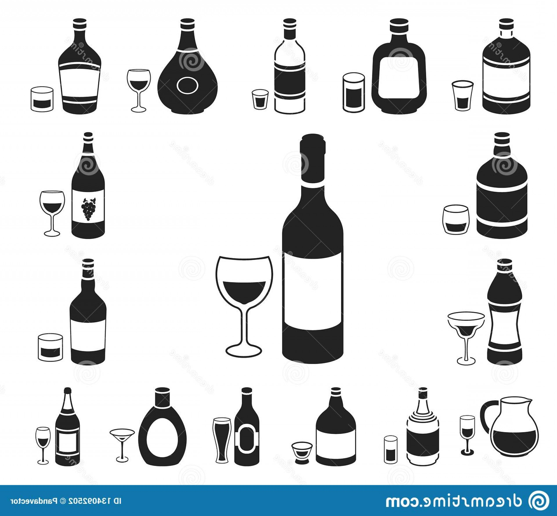 Booze Bottle Vector: Types Alcohol Black Icons Set Collection Design Alcohol Bottles Vector Symbol Stock Illustration Types Alcohol Image