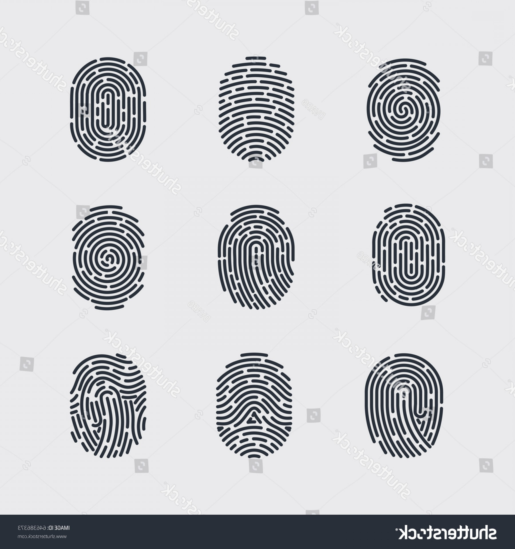 Security Vector Patterns: Types Fingerprint Patterns Identity Person Security