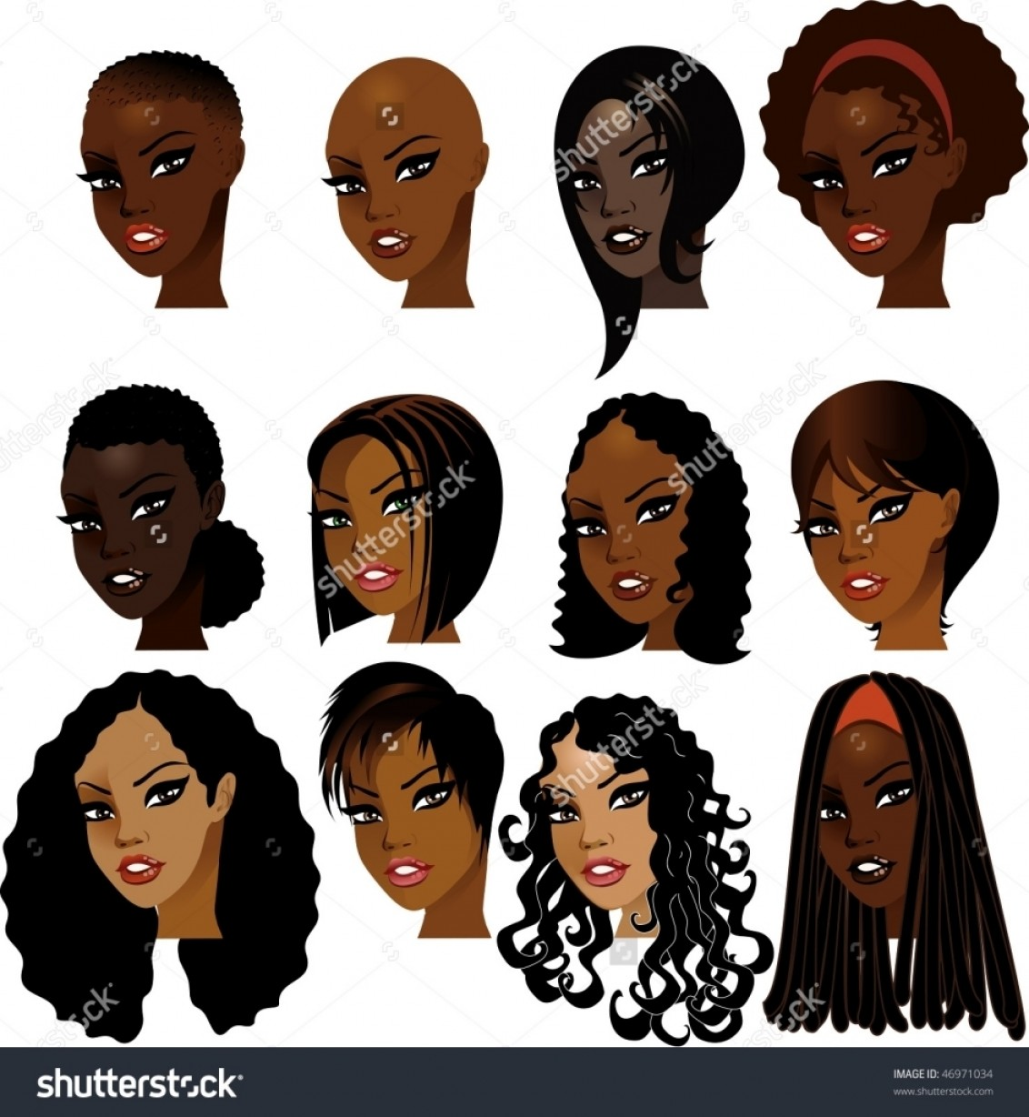 Short Men's Hair Vector: Types Of Black People Hair Vector Illustration Of Black Women Faces Great For Avatars