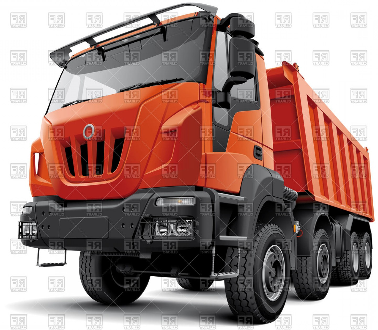 4 Wheeler Vector Art: Typical Axle Heavy Construction Truck Isolated On White Tipper Vector Clipart