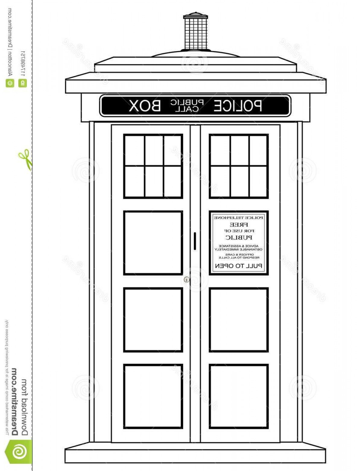 Vector Police Box: Typical British Police Box Isolated Over White Background Old Fashioned British Police Box Image