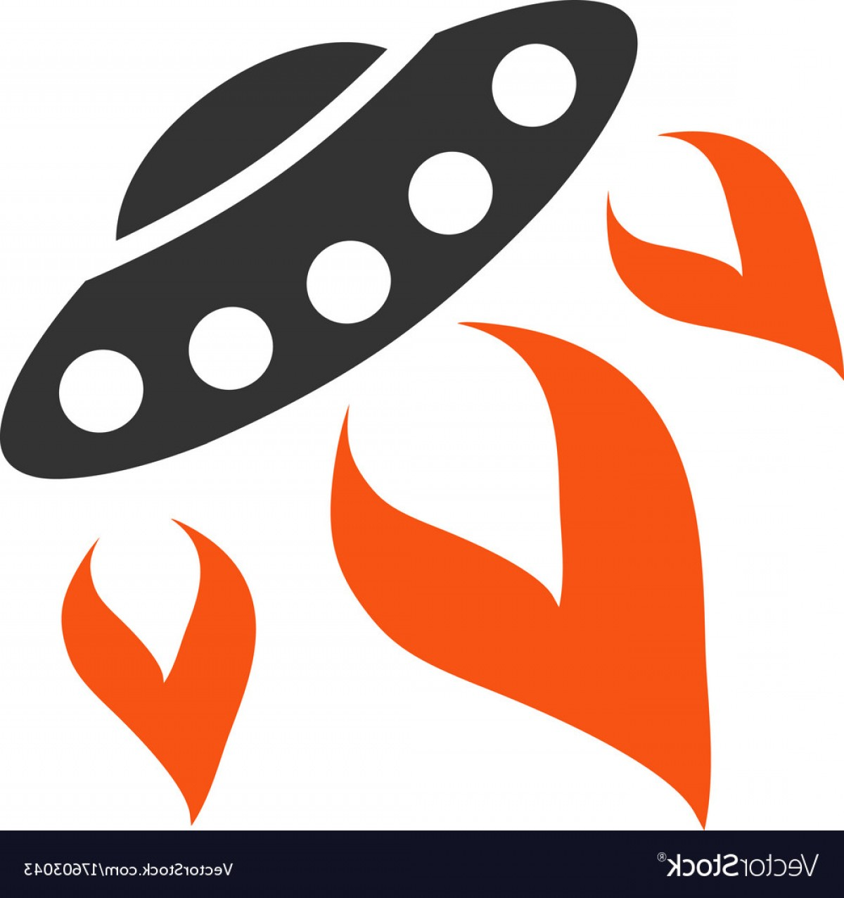 Fire Clip Art Vector: Ufo Start Fire Flat Icon Vector