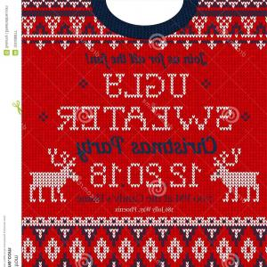 Active Border Vector: Ugly Sweater Christmas Party Invite Knitted Background Pattern Scandinavian Ornaments Ugly Sweater Christmas Party Invite Vector Image