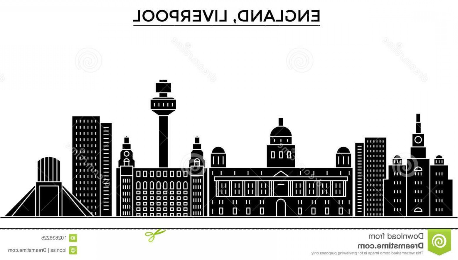 UK Skyline Vector: Uk Liverpool Architecture Vector City Skyline Black Cityscape Landmarks Isolated Sights Background Uk Liverpool Image