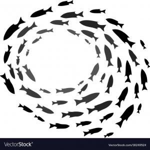 Ocean Silhouette Vector: Underwater World Deep Ocean Silhouette Different