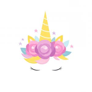 Unicorn Vector Eyes: Unicorns Horn With Flowers And Eyelashes Card Vector