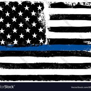 Warrior Thin Blue Line Vector: Photovector Illustration Of A Knight With Thin Blue Line Usa Flag The Thin Blue Line Is A Phrase And Symb