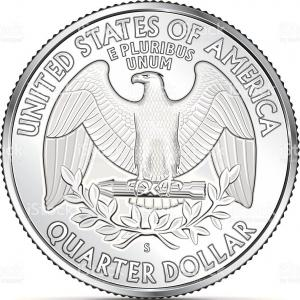 Quarter Coin Vector Art: Unique One Us Quarter Coin Depicting The American Eagle Vector Pictures
