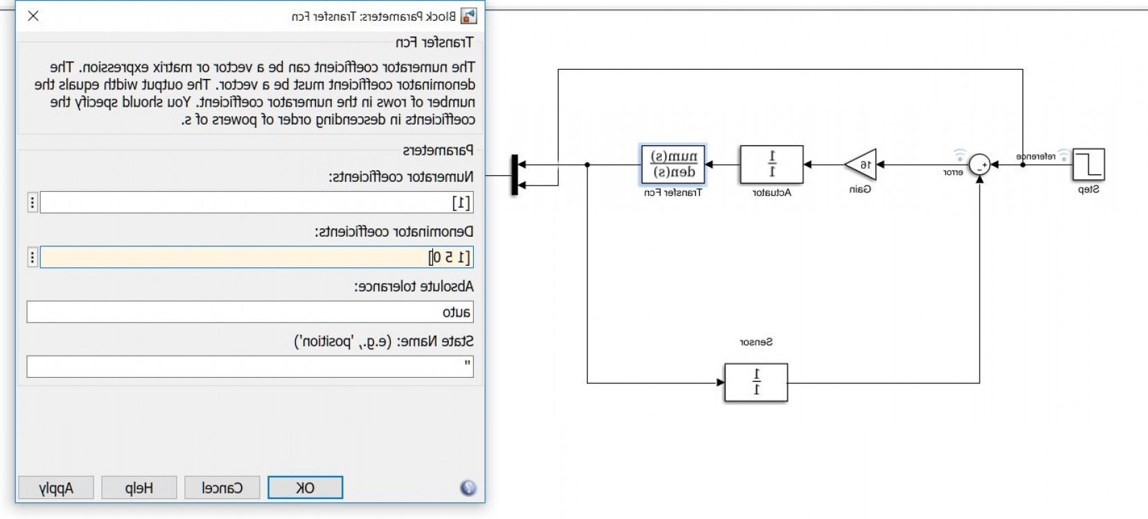 Simulink Vector: Unable To Set Transfer Function On Matlab Simulink