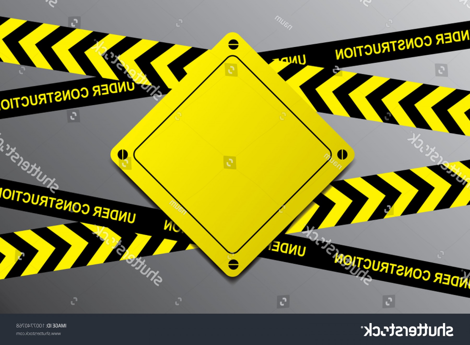 Vector Under Construction Template: Under Construction Black Yellow Ribbons Sign