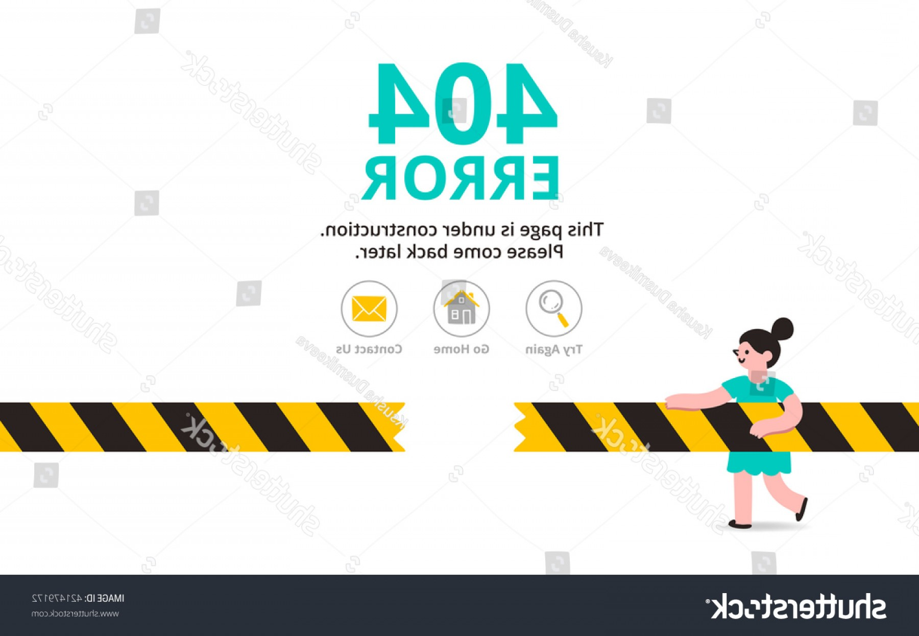 Vector Under Construction Template: Under Construction Illustrated Error Web Page
