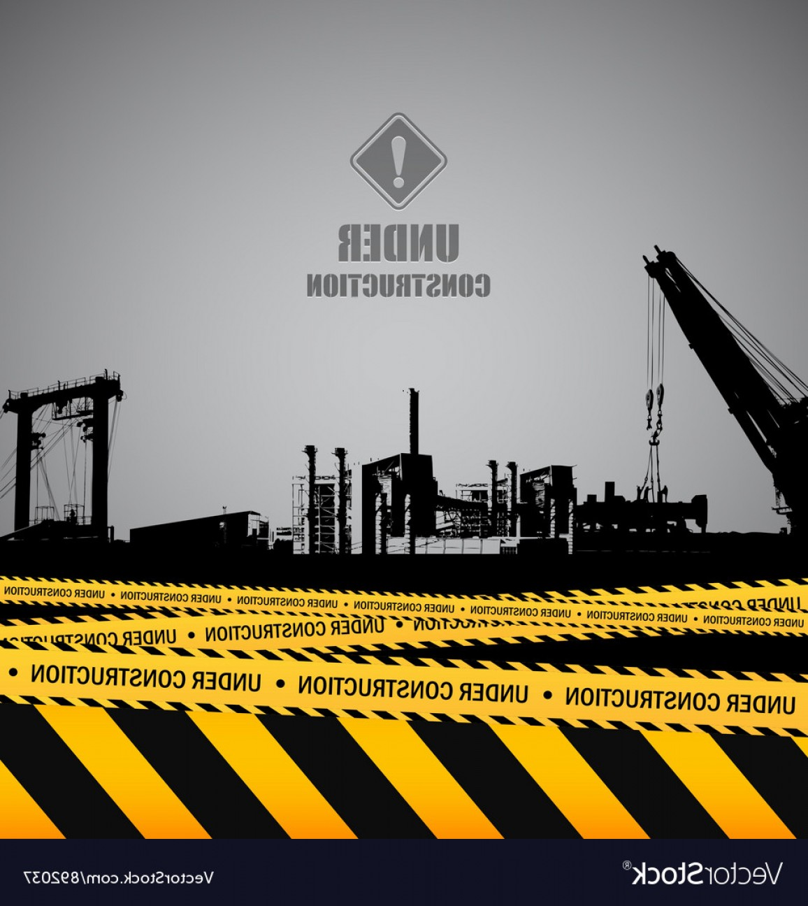 Vector Under Construction Template: Under Construction Industrial Template Design Vector