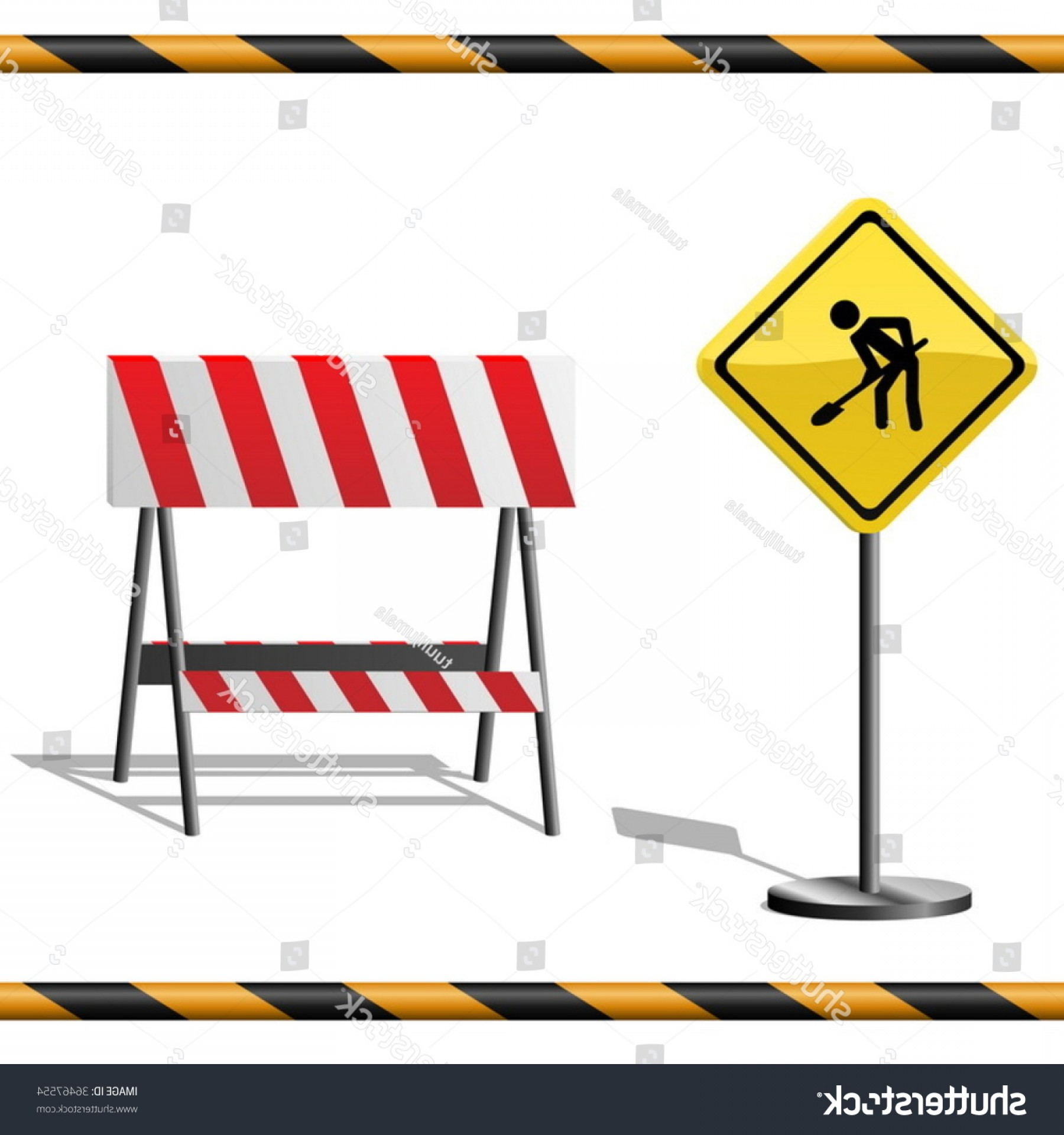 Vector Under Construction Template: Under Construction Vector Template Warning Road