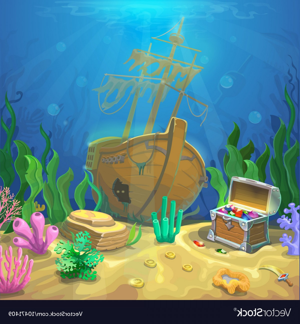 Underwater Sea Vector Art: Underwater Landscape The Ocean And The Undersea Vector