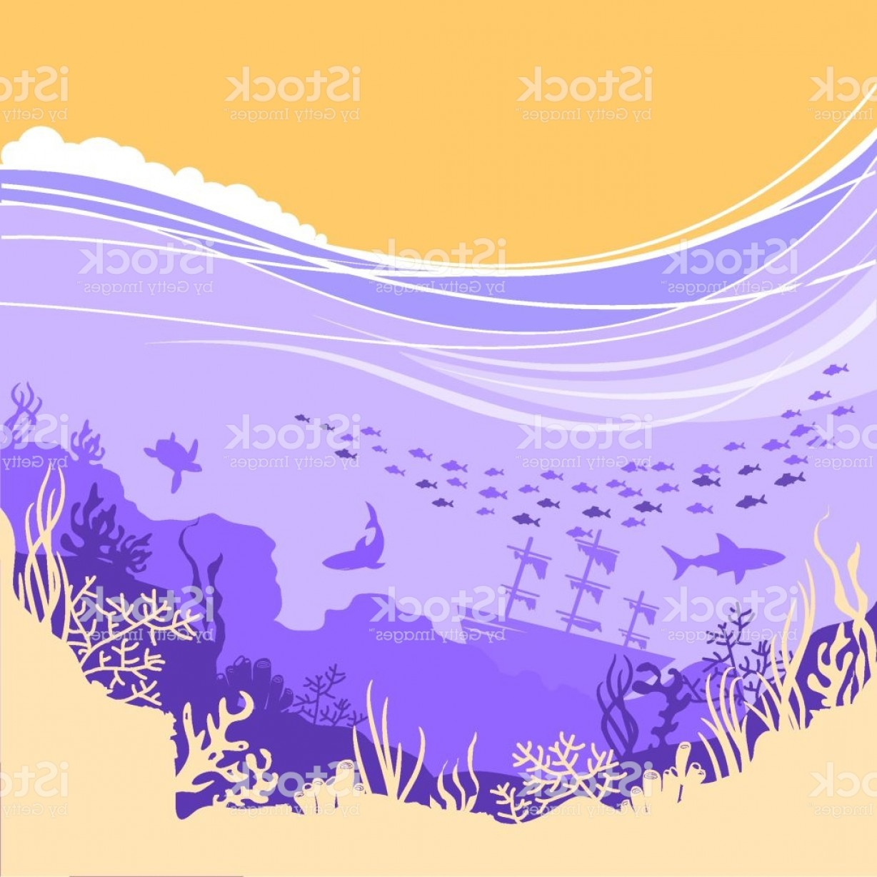 Underwater Sea Vector Art: Underwater Sea Background For Text Or Design Gm