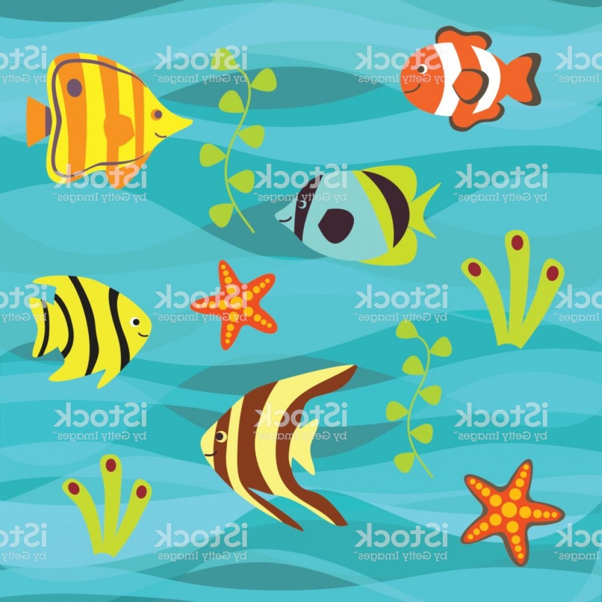 Underwater Sea Vector Art: Underwater Vector Background Tropical Sea Fish Set Gm