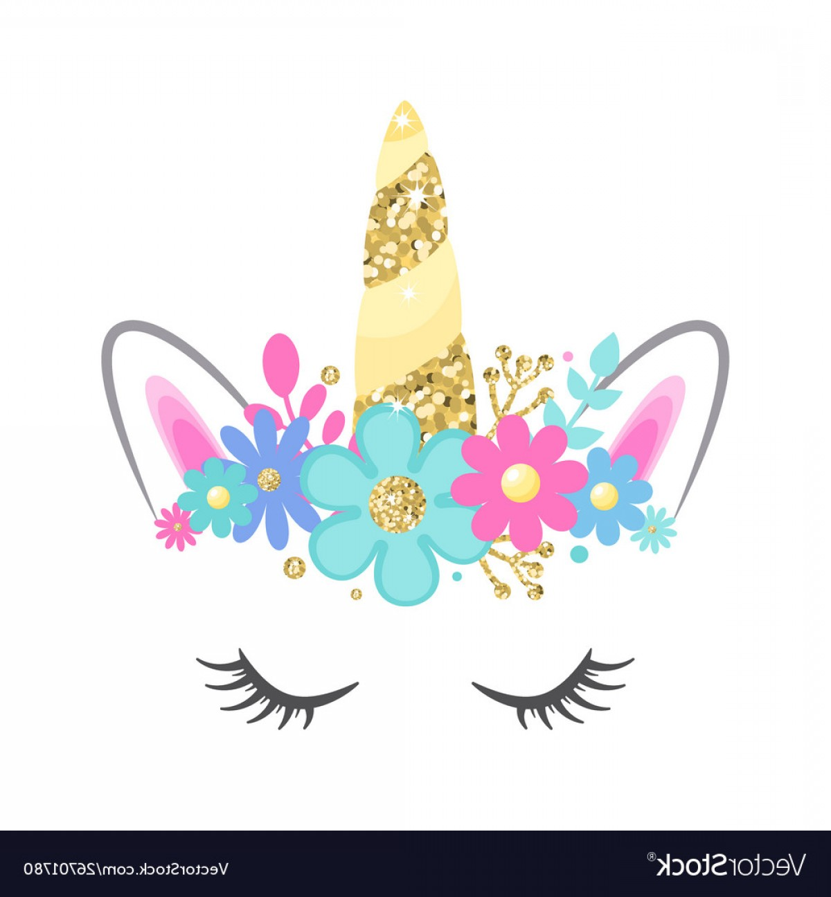 Unicorn Vector Eyes: Unicorn Face With Closed Eyes And Flowers Vector