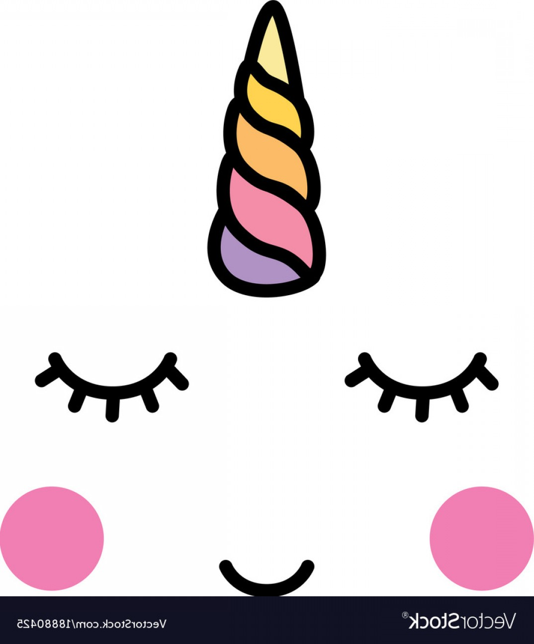 Unicorn Horn Vector: Unicorn Minimalistic Face Horn Cute Sleeping Vector