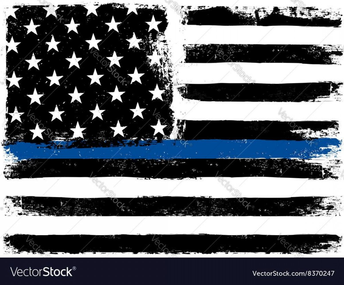 Warrior Thin Blue Line Vector: Unique American Flag With Thin Blue Line Grunge Aged Vector Photos